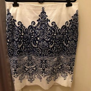 New White Pencil Skirt with Blue Paisley print.